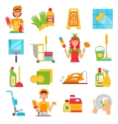Cleaning service icon set vector
