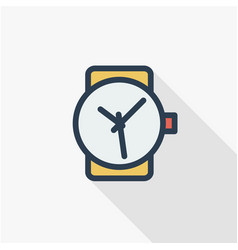 Clock time watch thin line flat color icon vector