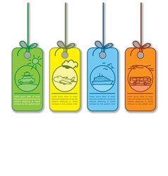Colored sale and promo transportation tag vector image