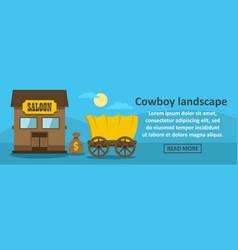 Cowboy landscape banner horizontal concept vector