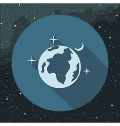 Digital planet earth icon with stars vector