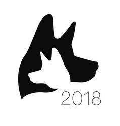Dog logo black color silhouette pet paw vector