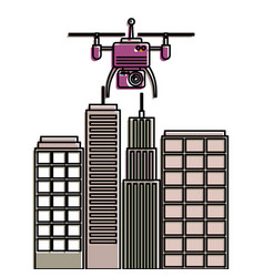 Drone with camera flying on city landscape vector