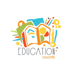 education label design concept with educational vector image vector image