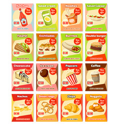 Fast food street food snacks cards menu vector