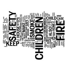 Fire safety and kids text background word cloud vector