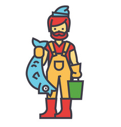 Fisherman with fish concept line icon vector