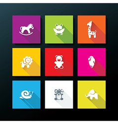 flat baby toy icon set vector image vector image