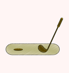 flat shading style icon golf stick and hole vector image