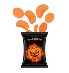Halloween chips with pumpkin flavor snacks for vector