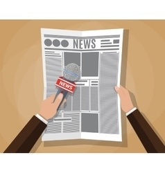 hand holding a microphone and newspaper vector image