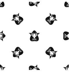 Head of troll pattern seamless black vector