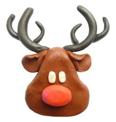 Icon of plasticine Reindeer vector image vector image