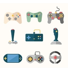 Joystick flat icons vector image vector image