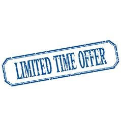 Limited time offer square blue grunge vintage vector