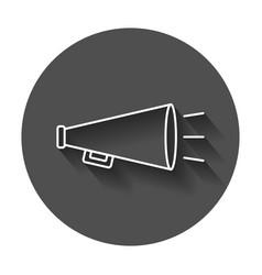 Megaphone flat icon bullhorn symbol logo on black vector