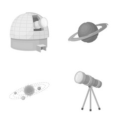 Observatory with radio telescope planet mars vector