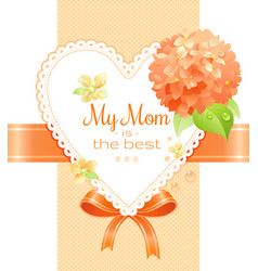 orange hydrangea cherry blossom flowers poster vector image vector image