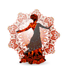 Oriental dance dancer in red vector