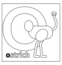Ostrich letter o coloring page vector