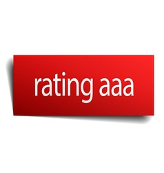 Rating aaa red paper sign on white background vector