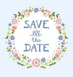 Save the date floral wreath vector image