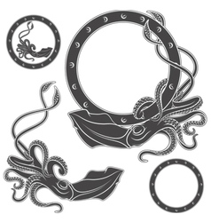 Set of black and white with squid vector image vector image