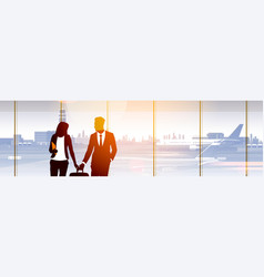 silhouette people in airport waiting hall vector image