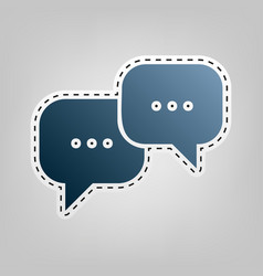 Speech bubbles sign blue icon with vector