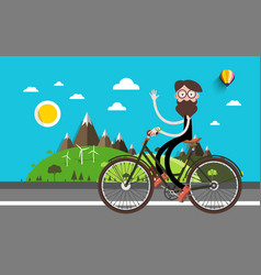 Travel on bike man on bicycle nature landscape vector
