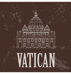 Vatican landmarks retro styled image vector