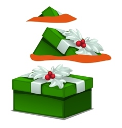 Green gift box with holly berry decoration vector