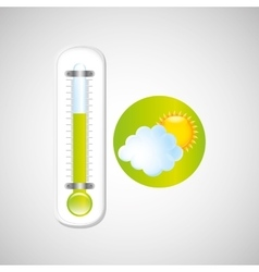 weather forecast sun cloud thermometer green icon vector image