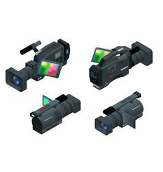 Professional digital video camera flat 3d vector