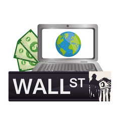 wall street laptop online world money vector image