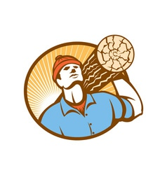 Logger forester lumberjack carry log retro vector