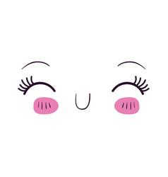 colorful facial expression happiness kawaii vector image