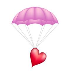 Heart at pink parachute vector