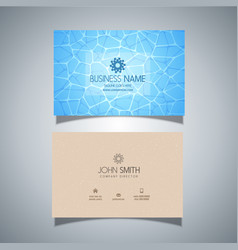 Business card with swimming pool water texture vector