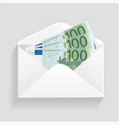 Open envelope and 100 euro bills cash vector