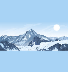 Panorama of mountain peaks vector
