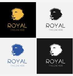 Royal lion logo template set vector