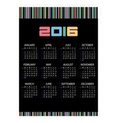 2016 simple business wall calendar black and color vector image vector image