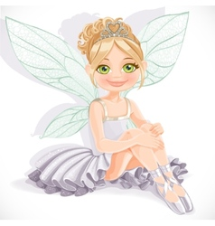 Beautiful fairy girl in white dress sit on floor vector
