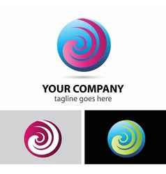 Spiral sphere abstract logo template vector