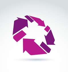 3d loop sign circulation and rotation icon vector