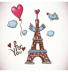 Vintage card with eiffel tower and heart vector