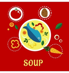 Cooking fish soup with sliced vegetables and herbs vector