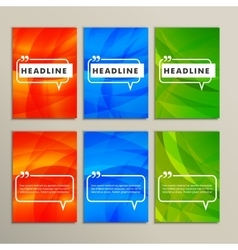 Set abstract backgrounds bright colors red blue vector