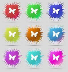 Butterfly icon sign a set of nine original needle vector
